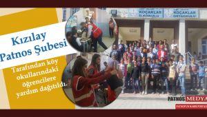 Kızılay Patnos Şubesi tarafından köy okullarındaki öğrencilere yardım dağıtıldı.