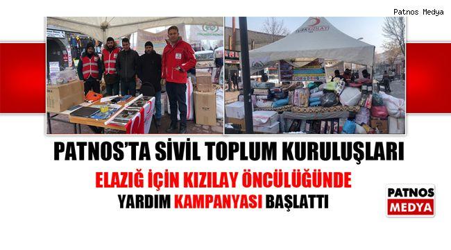 Patnos Sivil Toplum Platformu Elazığ ve Malatya için yardım kampanyası başlattı.