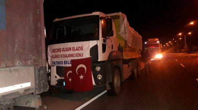 Patnos'tan Elazığ'a gönderilen yardım aracı yola çıktı