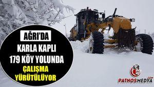 Ağrı'da karla kaplı 179 Köy yolunda çalışma yürütülüyor.