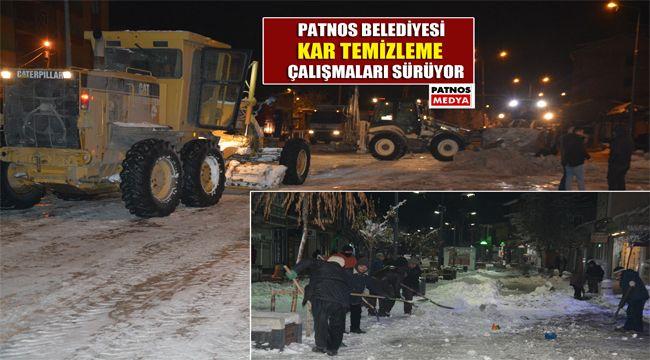 Patnos Belediyesi gece kar mesaisi yaptı