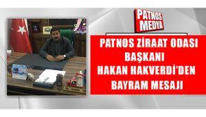 Ziraat Odası Başkanı Hakan Hakverdi'den Kurban Bayramı Mesajı